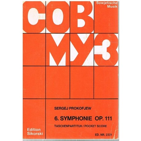 Prokofiev, S Sinfonía Nº6 Op.111 (Partitura de Bolsillo)