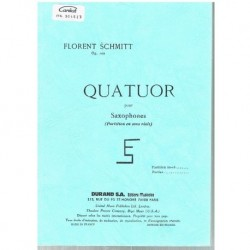 Schmitt, Florent. Quatuor pour Saxofones Op.102 (Partitura de Bolsillo)