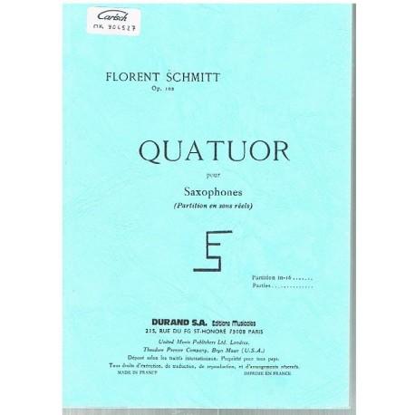 Schmitt, Florent. Quatuor pour Saxofones Op.102 (Full Score Bolsillo). Durand