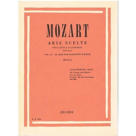 Mozart. Arias Selectas Vol.4. 22 Arias para Baritono y Bajo (Voz/Piano). Ricordi