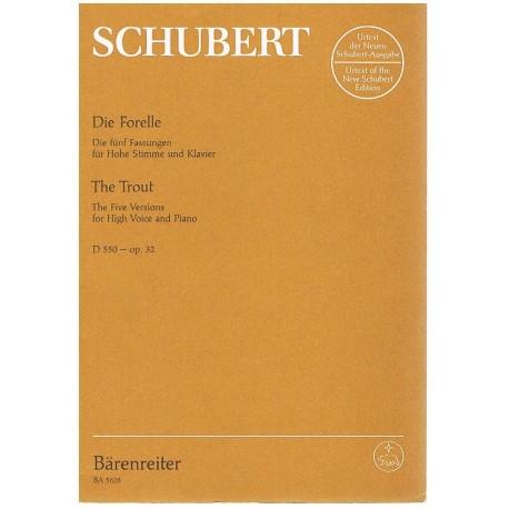 Schubert, Franz. Die Forelle Op.32. Las Cinco Versiones (Voz Alta/Piano). Barenreiter
