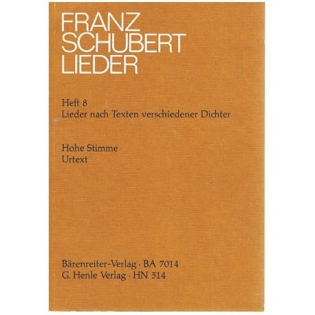 Schubert, Franz. Lieders Vol.8 Op.4/7/13/32/41/44/56/72/88 (Voz Alta/Piano). Barenreiter