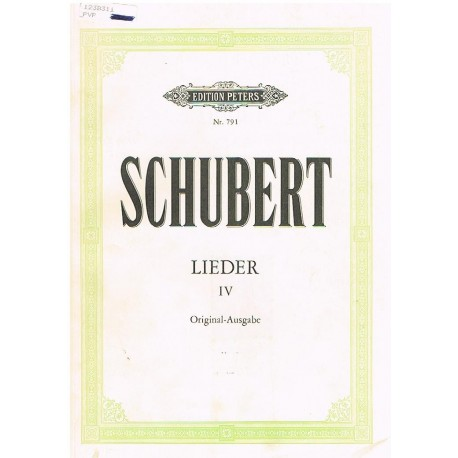Schubert, Franz. Lieders Vol.4 (Voz/Piano). Peters