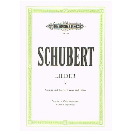 Schubert, Franz. Lieders Vol.5 (Voz/Piano). Peters