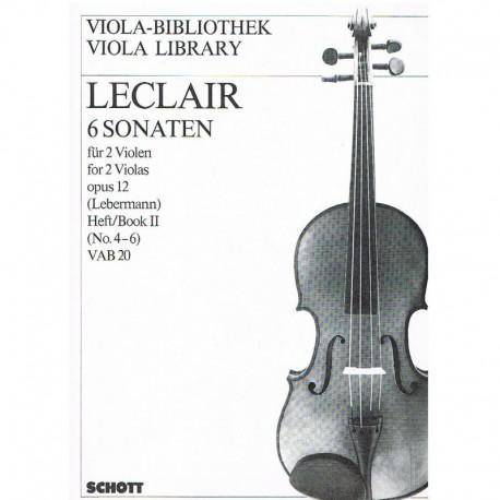 Leclair 6 Sonatas para 2 Violas Op.12 Vol.2 (4-6)