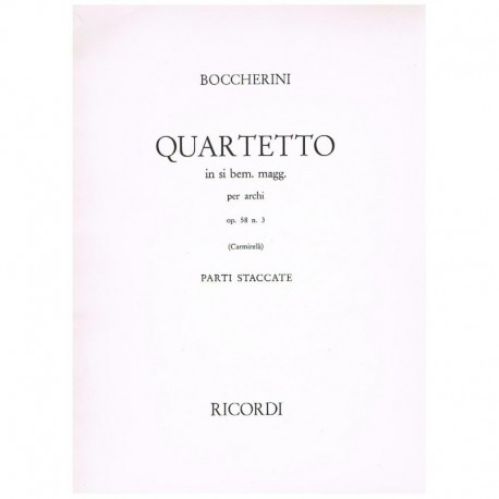 Boccherini. Cuarteto Sib Mayor Op.58 Nº3 (2 Violines, Viola, Cello)