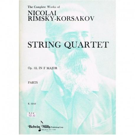 Rimsky Korsa Cuarteto de Cuerda Fa Mayor Op.12 (2 Violines, Viola, Cello)