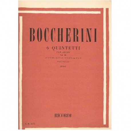 Boccherini. 6 Quintetos Vol.3 (Op.47 Nº1/Op.47 Nº2) (2 Violines, 2 Violas, C