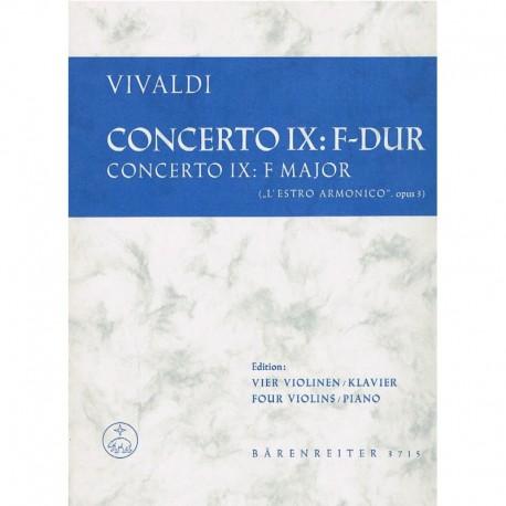 Vivaldi Concierto Nº9 en Fa Mayor Op.3 (4 Violines y Piano)