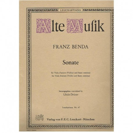 Benda, Franz. Sonata para Viola de Amor (Violín) y Bajo Contínuo (Piano)