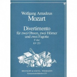Mozart. Divertimento Fa Mayor KV253 (2 Oboes, 2 Trompas, 2 Fagots)