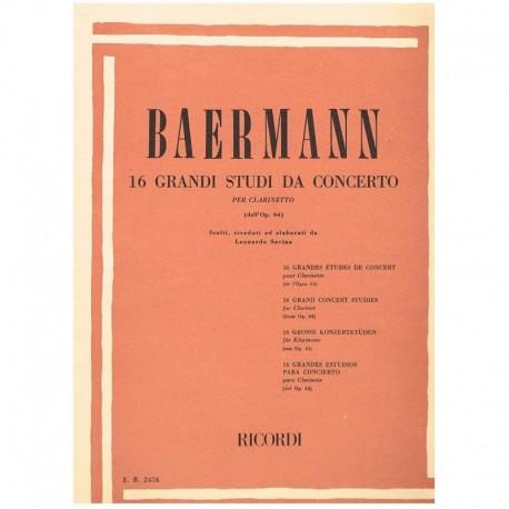 Baermann.16 Grandes Estudios de Concierto Op.64 (Clarinete)