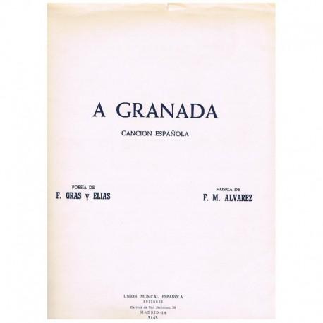 Alvarez. A Granada. Canción Española (Voz y Piano)